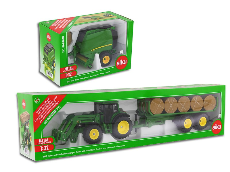 SIKU John Deere Tractor with Fork Loader with Round Baler 1:32 Scale