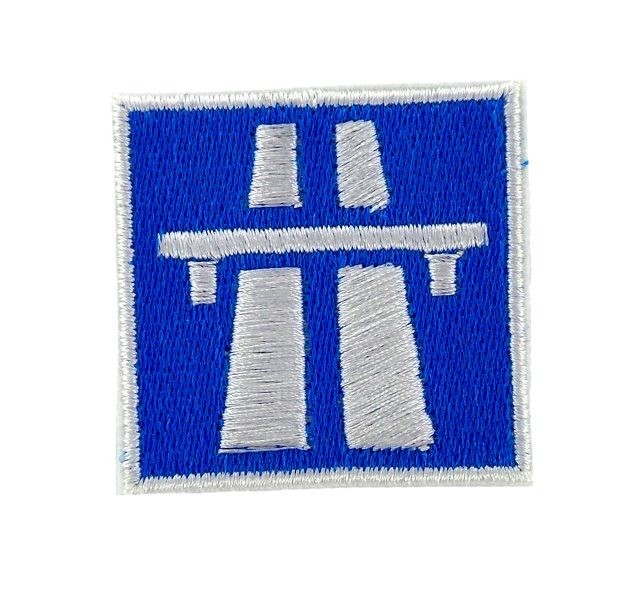 Patch backpack embroidered no speed limit road highway autobahn sign