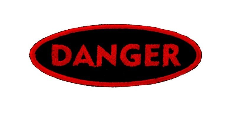 Patch patches backpack biker iron sew on badge danger dangerous warning