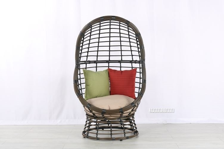 Tremendous Outdoor Brown Resin Wicker Swivel Egg Chair With Cushions Pool Patio Furniture Ncnpc Chair Design For Home Ncnpcorg