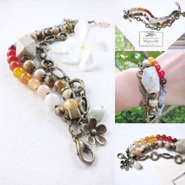 5f378e5d032 Vintage Bohemian 3 Tier Stone Bracelet w/ Floral Charms - Ltd Edition ...