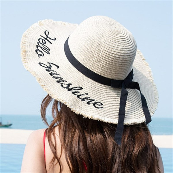 316079d510e153 Women Black Ribbon Lace Up Large Brim Straw Hat Outdoor Beach hat Summer  Caps | Trade Me