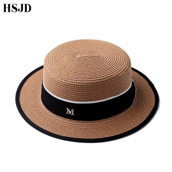 eb11880d3a1 Ribbon Round Flat Top Straw beach hat Lady sun caps women's travel Sun cap