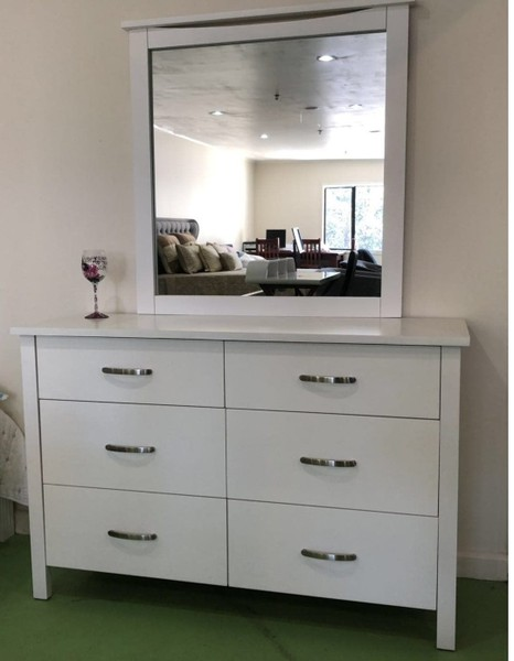 New Sunny 6 Drawer Nz Pine Wooden Dressing Table With Mirror 499