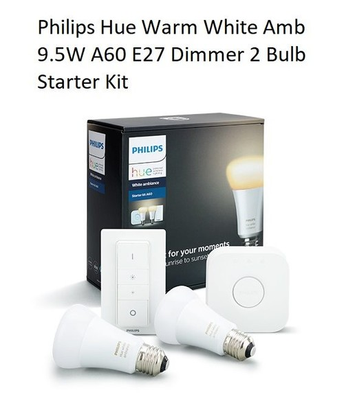 Philips Hue Warm White Amb 9 5W A60 E27 Dimmer 2 Bulb Starter Kit