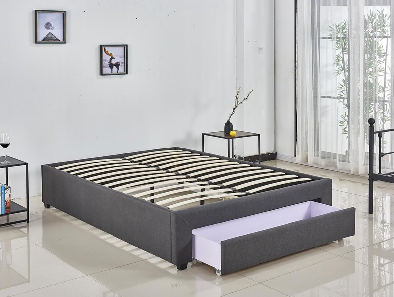 quality design 7b3fc 1b0bd STORAGE QUEEN BED BASE GREY FABRIC WITHOUT MATTRESS