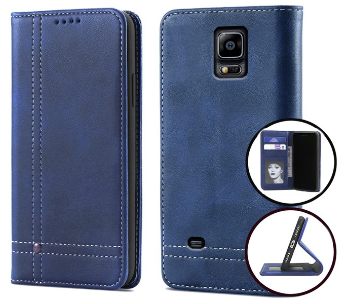 Samsung Galaxy note 4 PU flip leather wallet case card slot kickstand  magnetnavy