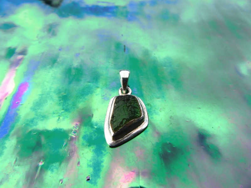 *Rare Green Moldavite Meteorite Pendant Set in Sterling Silver With FREE  Item