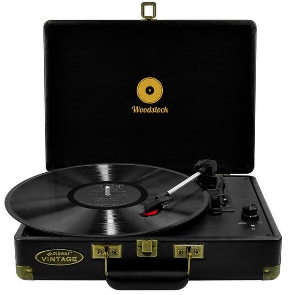 mbeat Woodstock Retro Turntable 3 Speed Vinyl Record Player Speaker RCA  Output