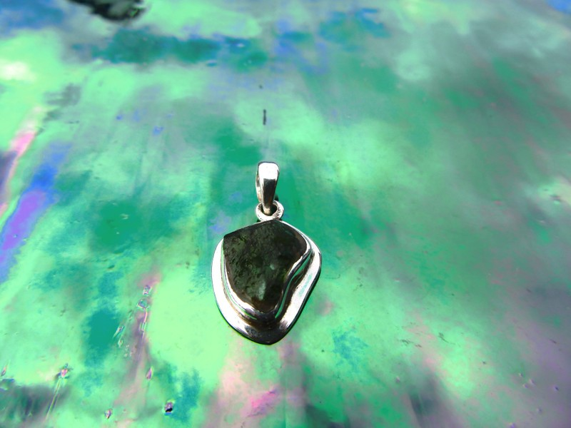 *Rare Green Moldavite Meteorite Pendant Set in Sterling Silver