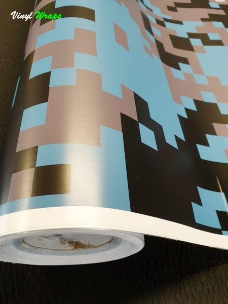 Digital Camo Blue Vinyl Wrap Bubble Free Sample 13cm X 7cm