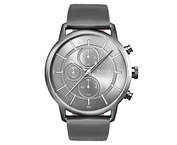 Hugo Boss Men S 44mm Architectural Leather Watch Grey Leather Band Watch