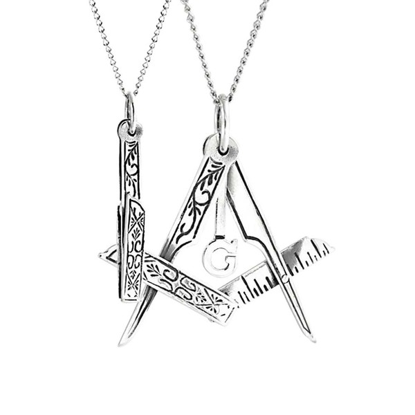 Masonic Freemason Foldable Compass Pendant Sterling Silver Necklace Chain 1  In