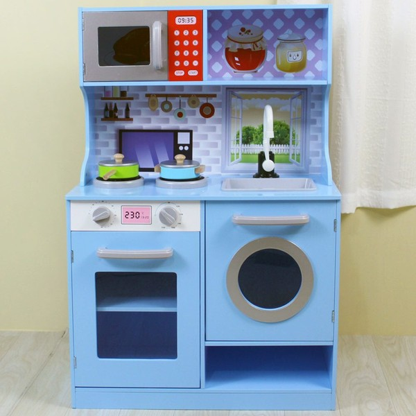 Gem Toys 90cm Kids Wooden Kitchen Playset w Oven Sink Dishwasher Microwave  Blue