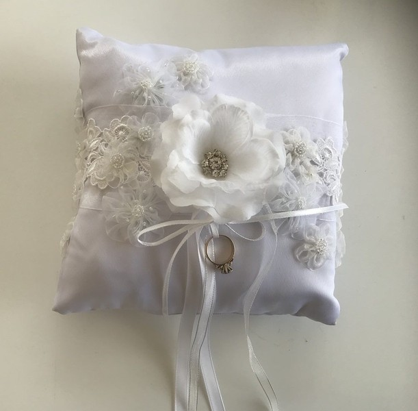 Bridal Ring Pillow White Satin Lace Made In Nz Trade Me
