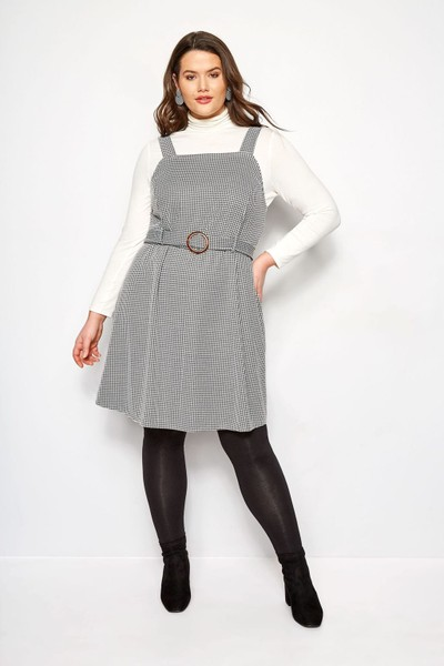 matching in colour best place for get online Plus Size Black & White Dogtooth Belted Pinafore Dress ~22-24,26-28 & 30-32