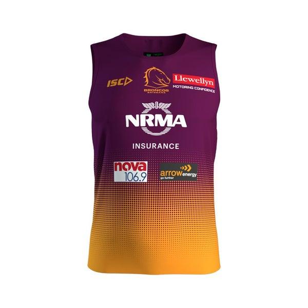 timeless design 979e6 57d79 Brisbane Broncos 2019 NRL Mens Amber Training Singlet