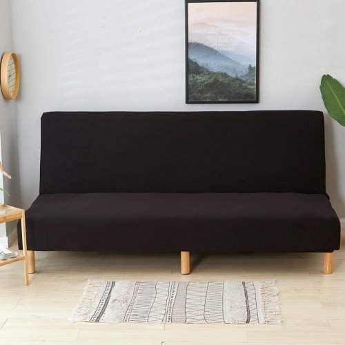 (Black) - Lembeauty Armless Sofa Cover Folding