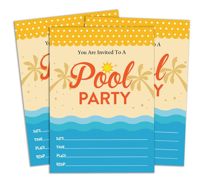 Pool Party Invitation Card Printable Fill Write In Blank Invites Party Supplies