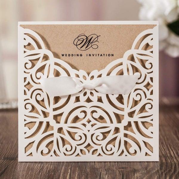 4pcs Laser Cut Wedding Invitations Card Ribbon Bowknot Birthday Invites Card