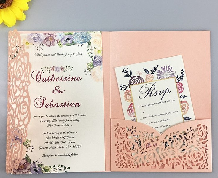 10pcs Rose Wedding Invitation Cards Three Folded Card Greeting Cover For Party
