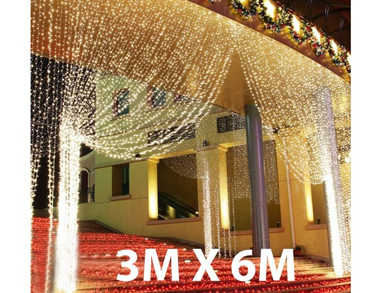 600 LED 6mx3m Curtain String Lights Wedding Party Outdoor Indoor Decorations US