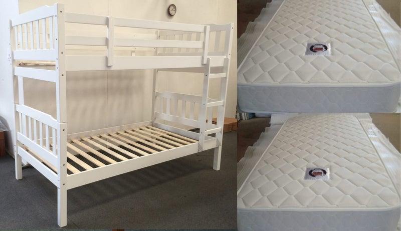 Bella Bunk Beds 2x Single Mattress White Trade Me