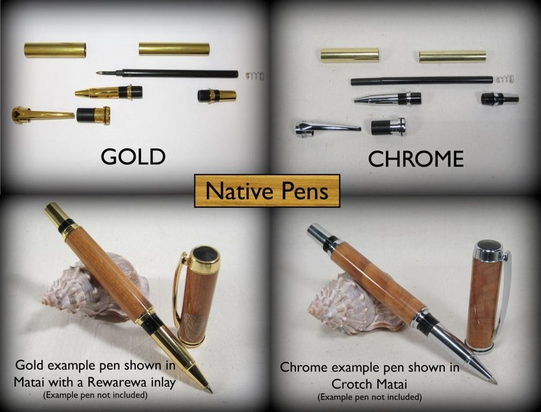 Pen Kits - JR Rollerball II Gold or Chrome