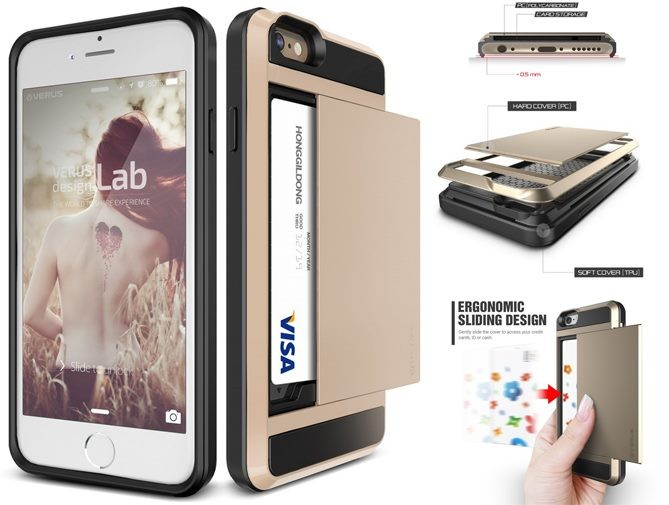 official photos a9388 ea866 iPhone 4 4S impact proof hybrid case card holder