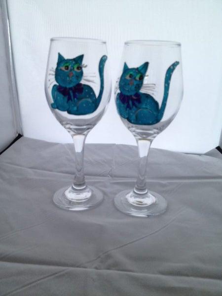 Hand Painted Wine Glasses Aqua Funky Cats Trade Me