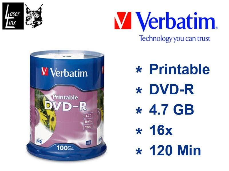 image regarding Verbatim Printable Dvd R identified as Verbatim DVD-R Inkjet Printable 16x 100pk