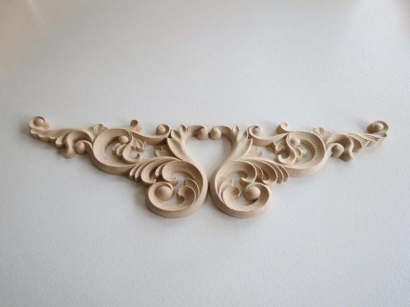 Pcs unpainted wood oak carved corner onlay applique furniture