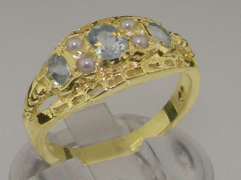 32679471e Gold Natural Aquamarine & Pearl Womens Ring - Hallmarked 9k Yellow ...