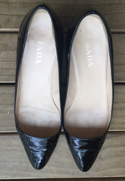 4d13f78b7f5b PRADA Heel Black Patent Leather PUMP Shoe