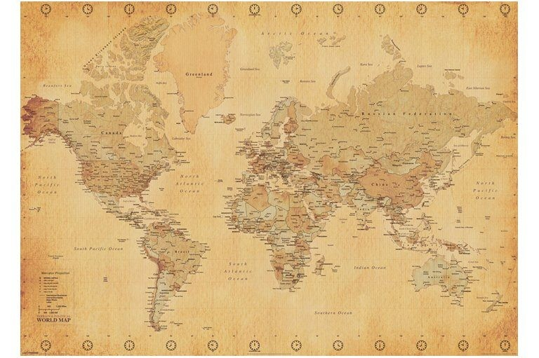 World map vintage style huge 1 x 14m poster trade me world map vintage style huge 1 x 14m poster publicscrutiny Choice Image