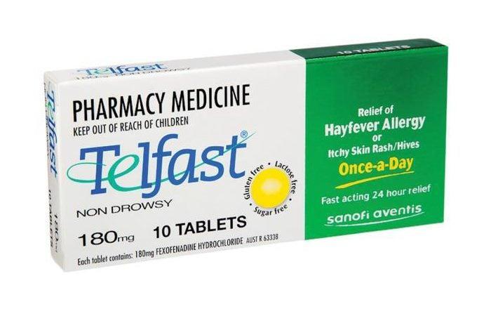 TELFAST 180mg 10 tablets Fexofenadine - Hayfever Allergy Relief