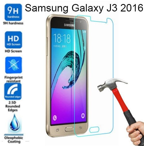 ... ANTI GORES ROUNDED EDGE 25D CLEAR. samsung Galaxy j3 2016 Tempered Glass screen protector 2.5D 0.26mm 9H