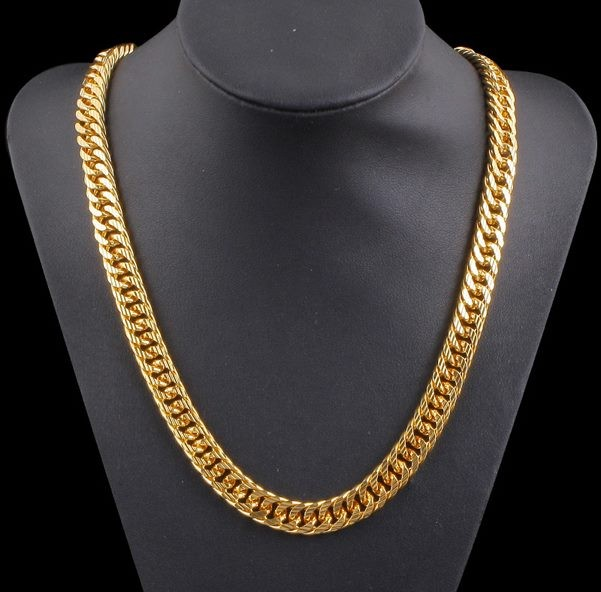 9c4dbe1fd10d5 8MM CURB CHAIN 18KP GOLD MENS NECKLACE