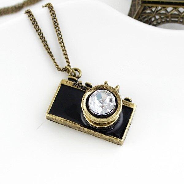 0dfaf357f1bbf Vintage Camera Pendant Necklace Black