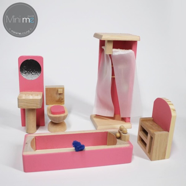 Wooden Doll House Furniture Sets Bathroom Trade Me