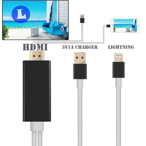 low priced a5887 fb08d Lightning MHL USB to HDMI Cable Adapter Plug and Play For Apple Iphone 7 6  Plus