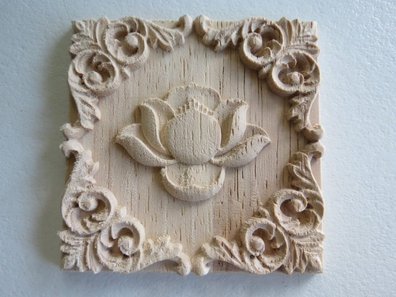 Square wood carved appliqué trade me