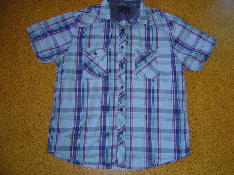 13fbb4e045 Mens Match blue multicoloured check shirt size L | Trade Me