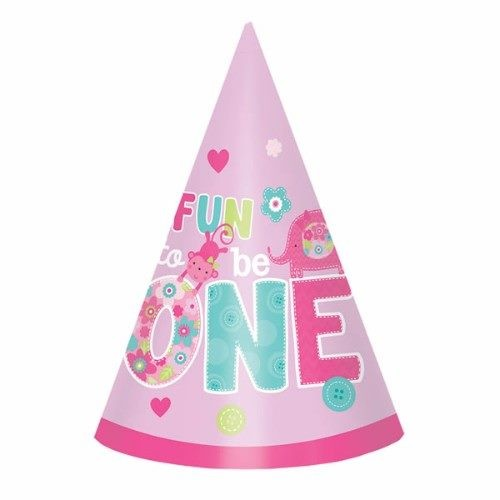 One Wild Girl Cone Hats 1st Birthday