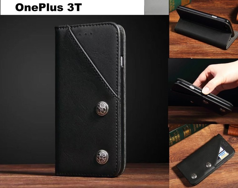 online store e05cd 73c1b OnePlus 3T ultra slim retro leather wallet case 2 cards magnet blk