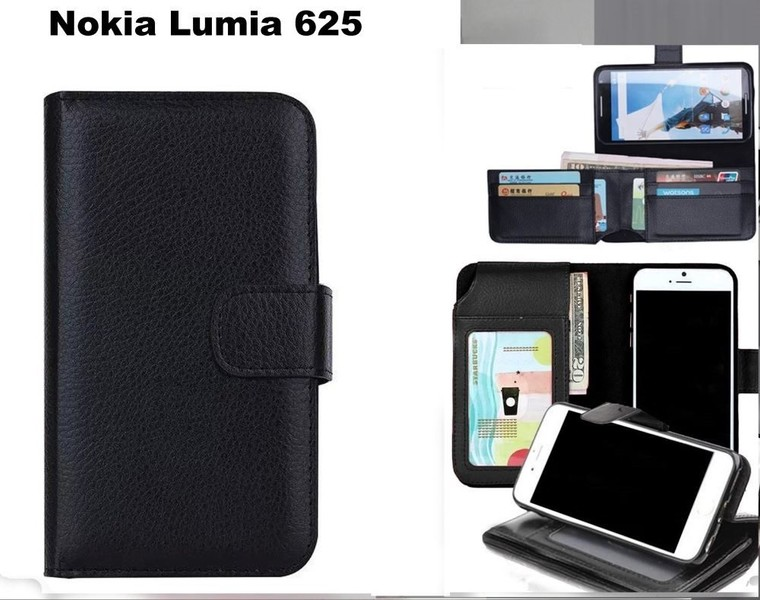 huge discount 1c307 f62c0 Nokia Lumia 625 leather wallet case folded 7 cards ID black