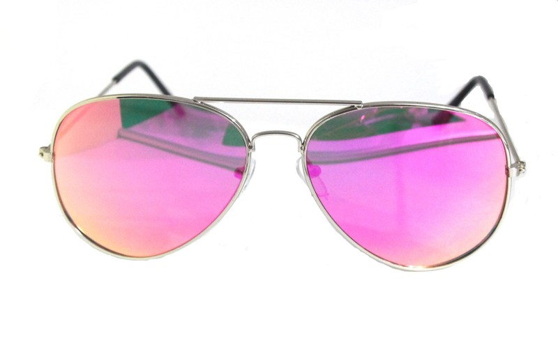 ef86068273031 Full Mirrored Aviator Sunglasses Metal Frame Uv400 - Silver Frame Hot Pink  Lens