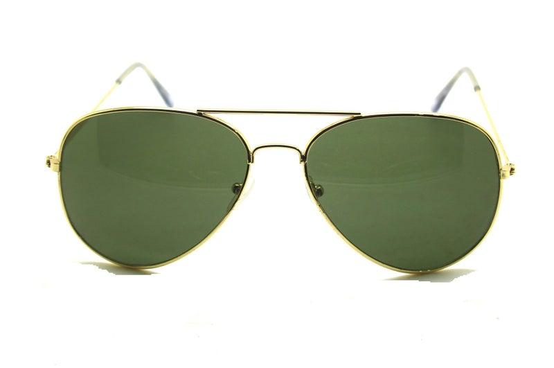 c625ef4c2810a Full Mirrored Aviator Sunglasses Metal Frame Uv400 - Gold Frame Green Lens