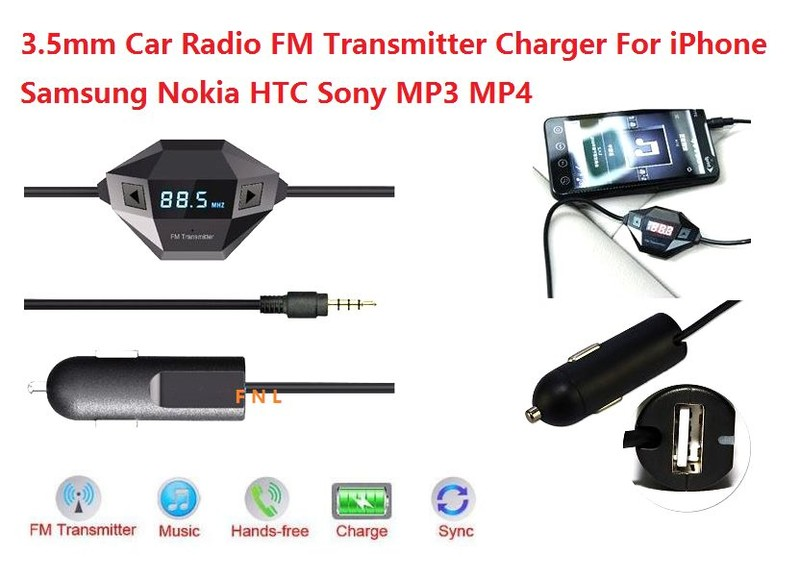 check out 112f6 a9f70 FM Transmitter Radio Aadapter Car Charger For iPhone X iPhone 8 7 6S 6 5S  SE 5 4