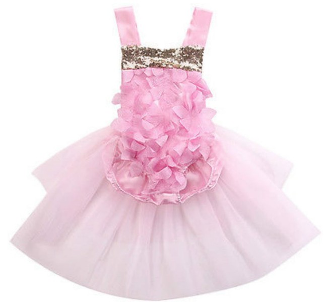 81f8298f8dfb Sequins Baby Girl Romper Jumpsuit Outfits dress pink cartoon fairy girl  summer | Trade Me